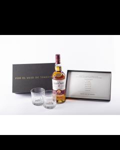 Whisky Glenlivet Malt 15 Años - 750 ml Gratis Kit Caja mensaje día del padre + dos vasos de cristal