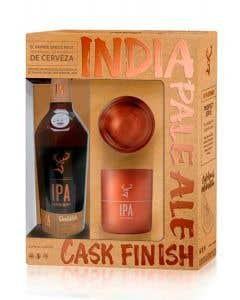 Whisky Glenfiddich IPA caja con dos vasos color cobre