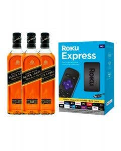 3 Whisky Johnnie Walker Black Label 750 ml + 1 Roku de regalo