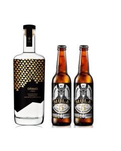 Vodka Drako Destilería Reves  750 ml + 2 cervezas Mula de cincos de jengibre 355 ml
