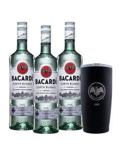 3 Ron Bacardí blanco 750 ml  + vaso térmico edición 90° Aniversario 1900