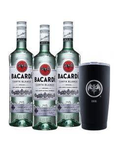 3 Ron Bacardí blanco 750 ml  + vaso térmico edición 90° Aniversario 2002