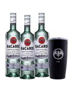 3 Ron Bacardí blanco 750 ml + vaso térmico edición 90° Aniversario 2005