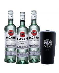 3 Ron Bacardi blanco + vaso térmico edición 90° Aniversario  2010