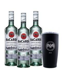 3 Ron Bacardí blanco 750 ml  + vaso térmico edición 90° Aniversario 2013
