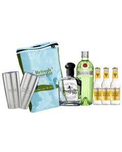 Combo Refresh Your Day Tanqueray Ten 700 ml + Don Julio 70 Añejo Cristalino 700 ml + 3 Aguas tónicas Fever Tree 200 ml + regalos