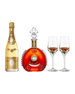 Cognac Remy Louis XIII 700 ml + Champagne Cristal Louis Roederer 750 ml Gratis copas de cristal  personalizada