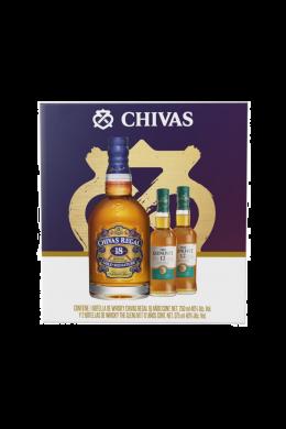 Whisky Chivas 18 750 ml + 2 botellas Glenlivet 12