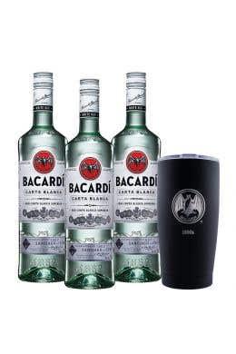 3 Ron Bacardí blanco 750 ml  + vaso térmico edición 90° Aniversario 1890S