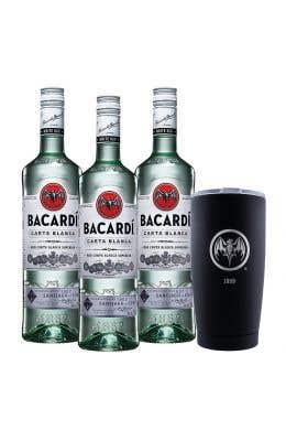 3 Ron Bacardí blanco 750 ml  + vaso térmico edición 90° Aniversario 1959